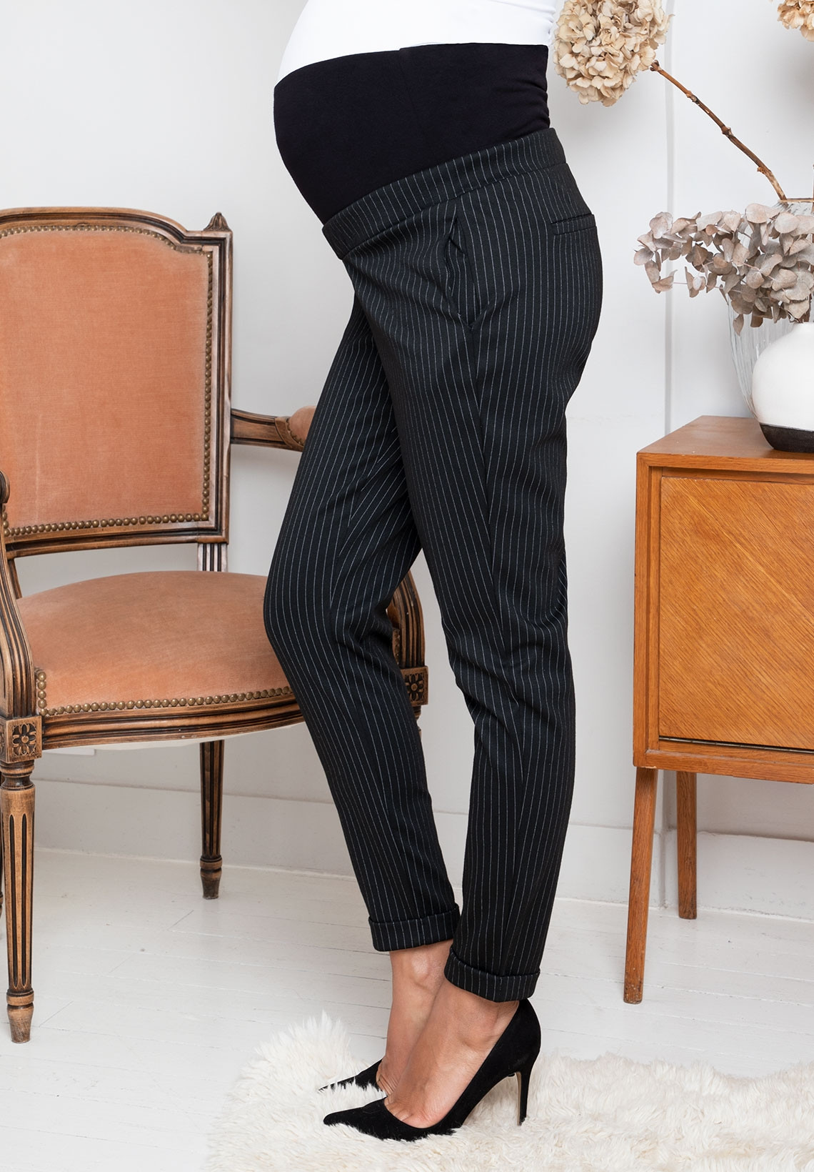 Carrot Cut Maternity Pants Over Belly Band Clement Jackraye