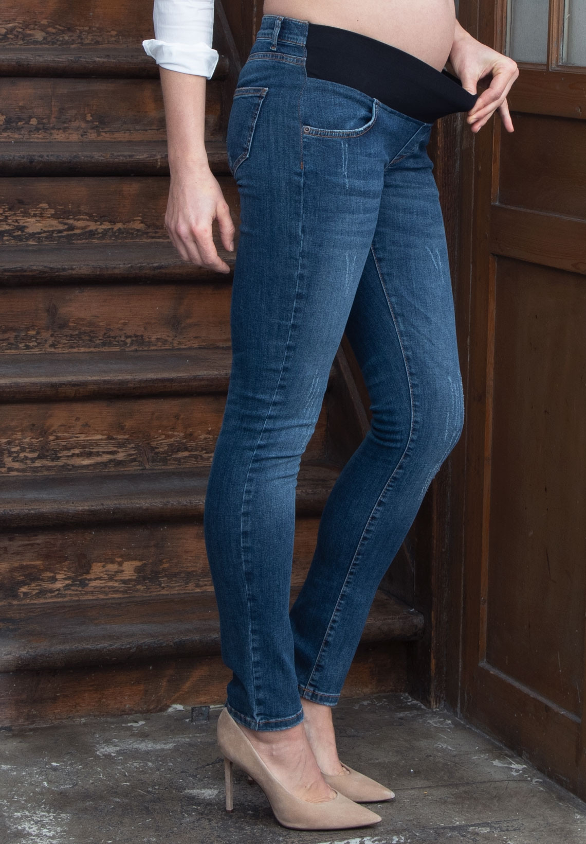 Slim Cut Maternity Jeans With Under Bump Band James Deluxe Denim